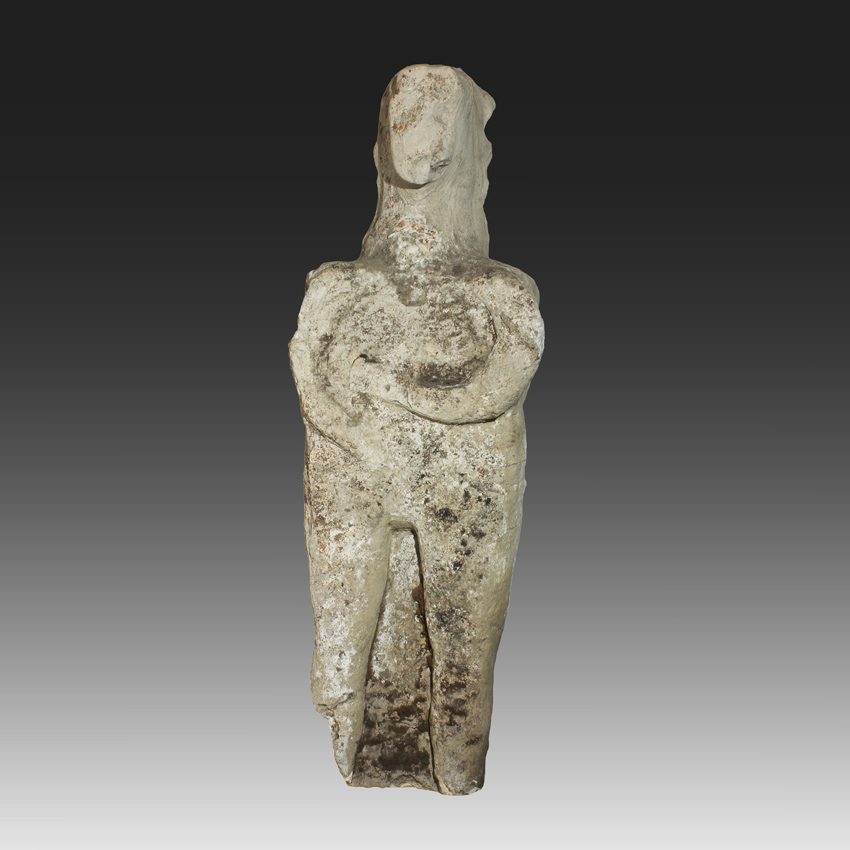 Rare Celtic Early Iron Age Pagan Limestone Sculpture of a Female Standing Figure