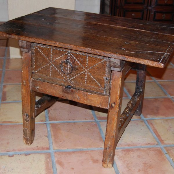 Spanish Baroque Oak Side Table