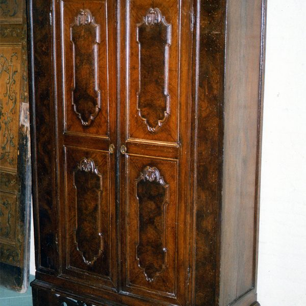 Unusual Italian Baroque Period Faux Bois Painted Armoire