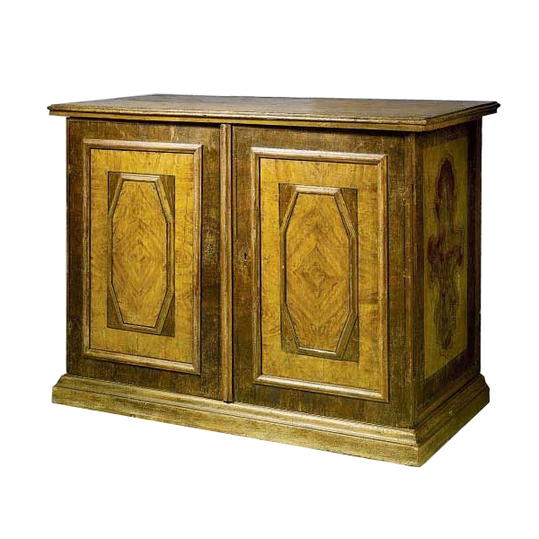 Italian Baroque Period Faux Bois Painted Credenza
