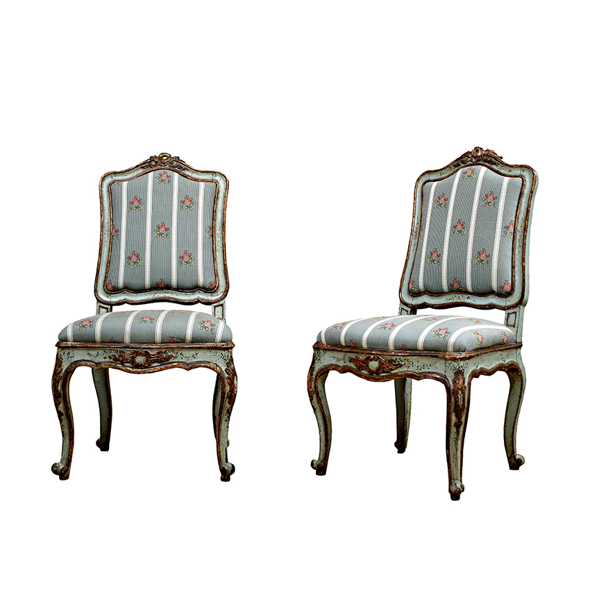 Northern Italian Rococo Polychrome Side Chairs