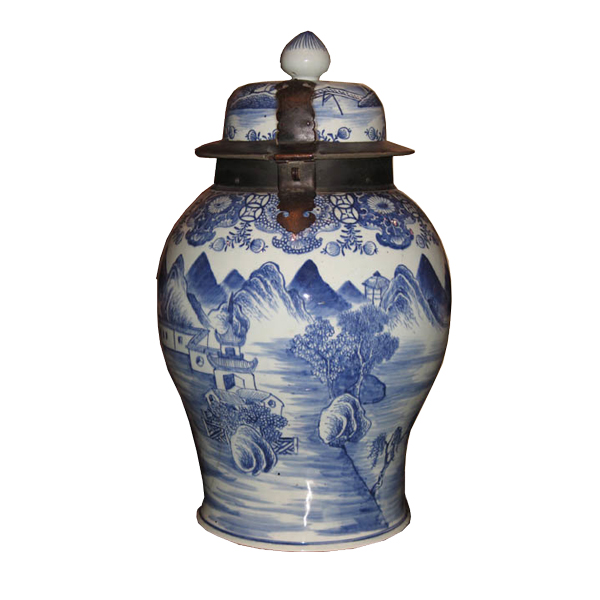 Chinoiserie Blue and White Porcelain Vase with Hinged Lid and Iron Mounts