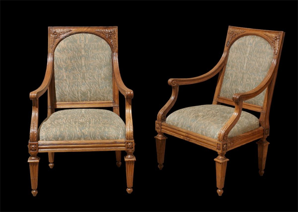 Pair of Northern Italian Walnut Armchairs