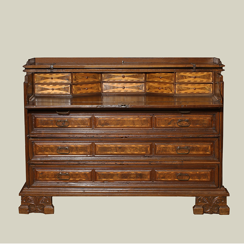 Baroque Period Northern Italian Walnut Chest/Desk