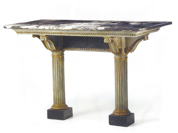 Fine Italian Neoclassic Period Cream Painted and Giltwood Console
