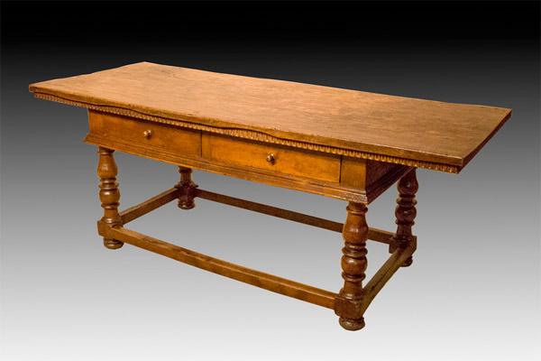 -Sold-Italian Baroque Walnut Library Table