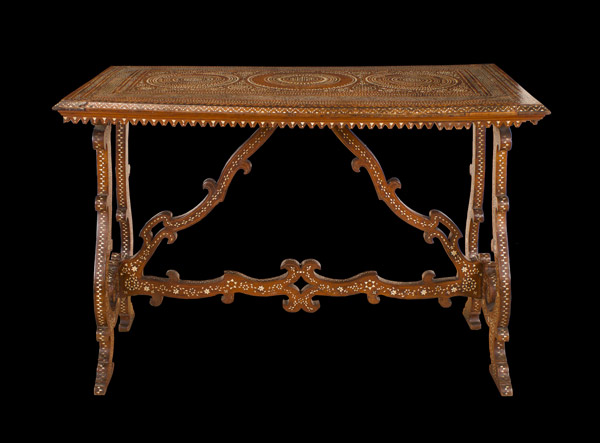Italian Early Baroque Period Walnut and Bone Inlaid Center Table