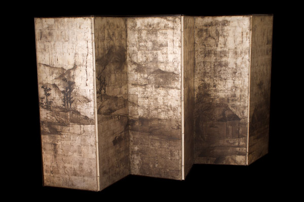 Japanese Neiji Period Silver Leaf Six-Panel Screen