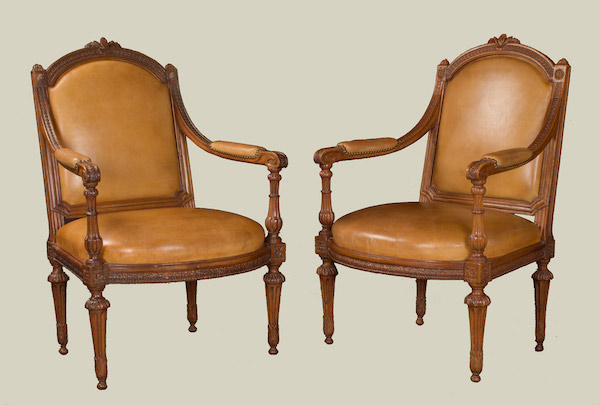 Pair Of Large Italian Neoclassic Period Beechwood Armchairs