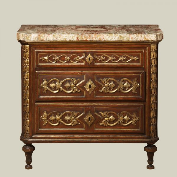 Northern Italian Neoclassic Period Painted and Giltwood Commode