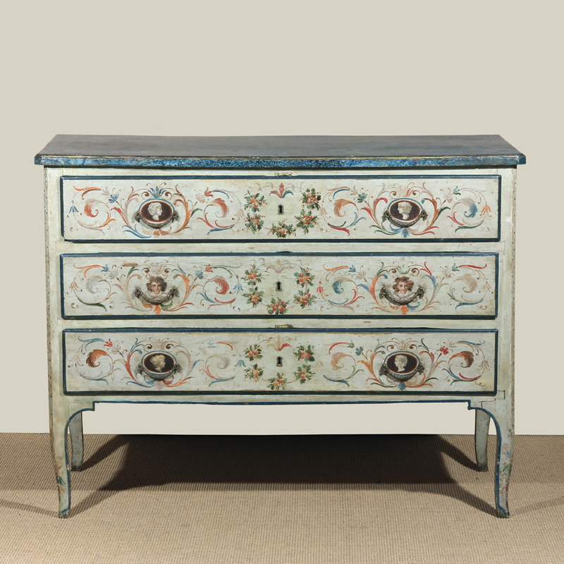 Neapolitan Neoclassic Period Polychrome Commode