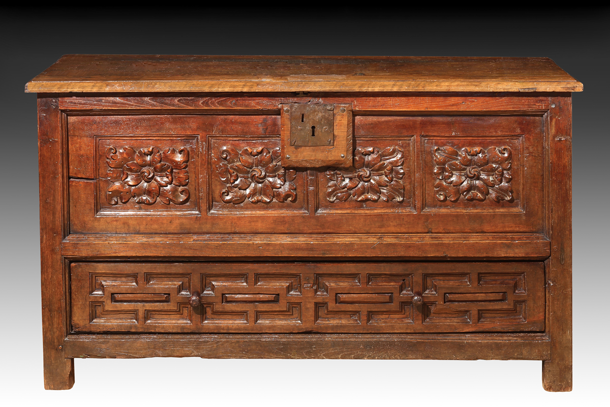 Spanish Baroque Period Chestnut Coffer