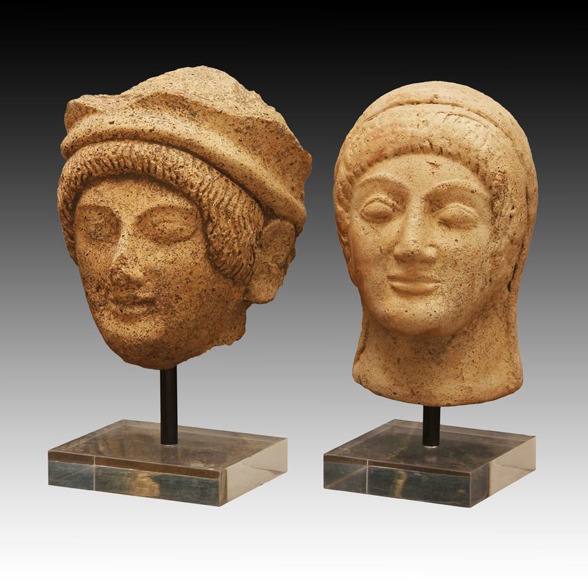 Two Etruscan Terracotta Heads