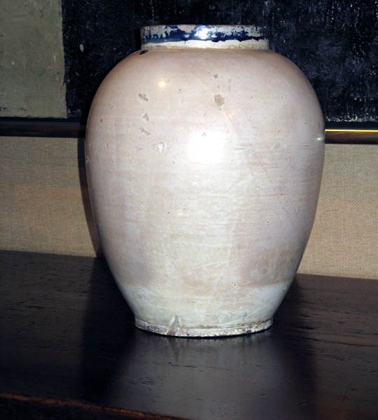Spanish Colonial Cream Glazed Earthenware Container