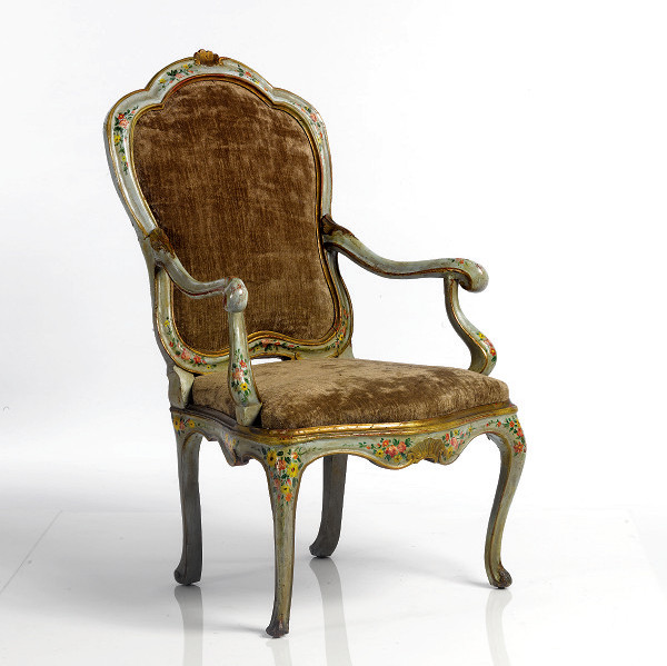 Venetian Rococo Period Blue Painted Armchair