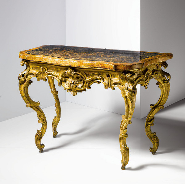 Italian Rococo Period Painted and Parcel Gilt Console Table
