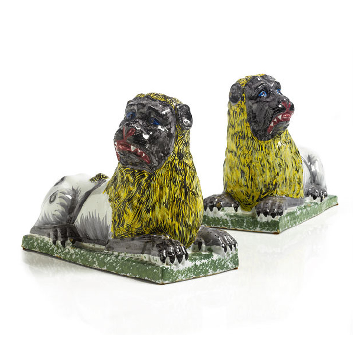 Unusual Pair of French Faïence Lions