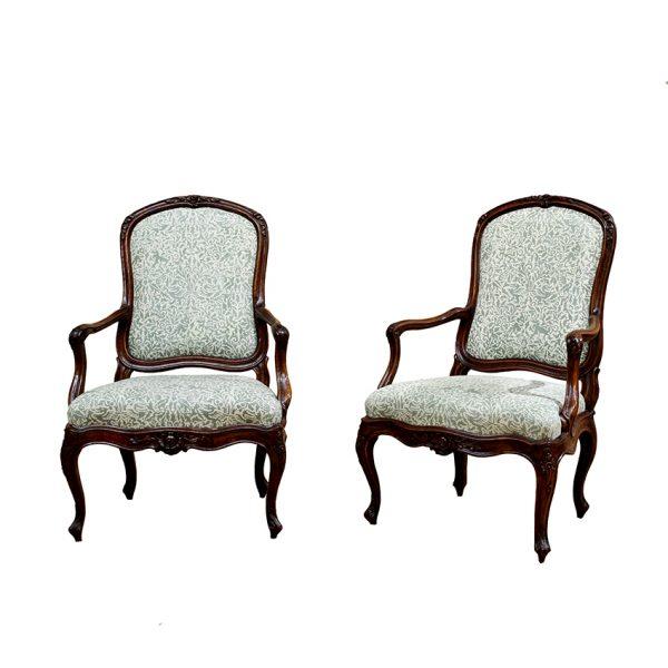 Northern Italian Rococo Period Walnut Armchairs