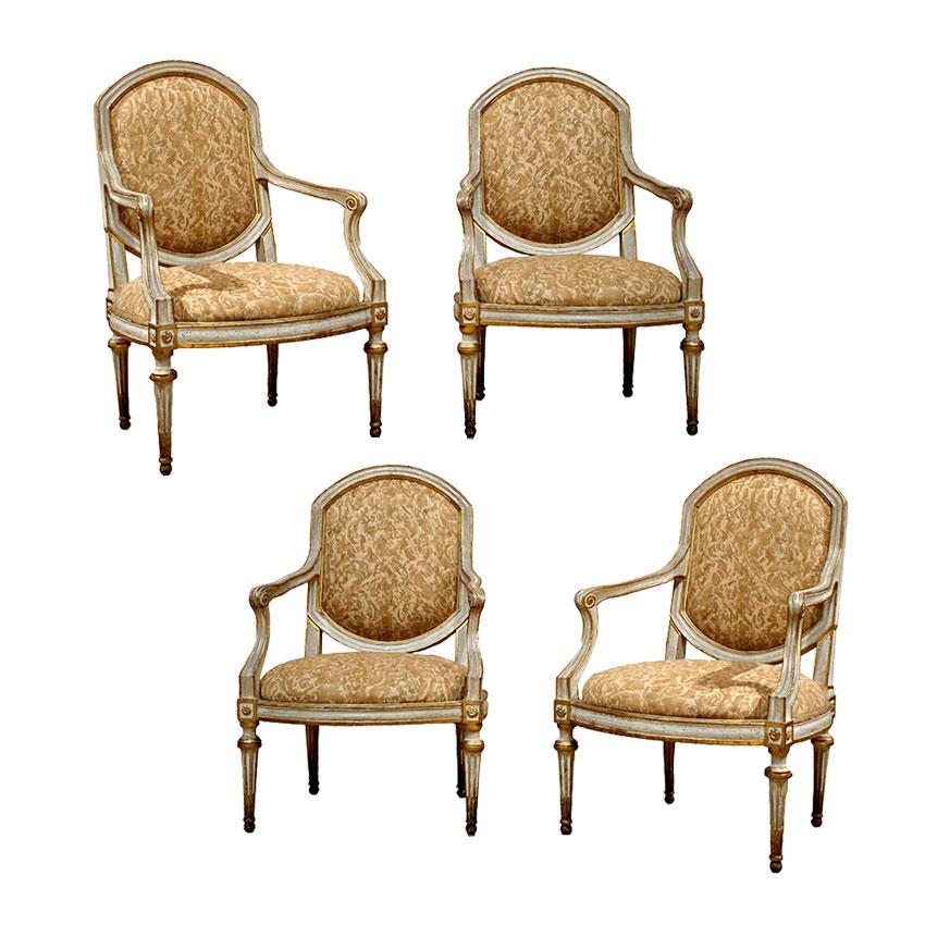 Italian Neoclassic Grey Painted & Giltwood Armchairs
