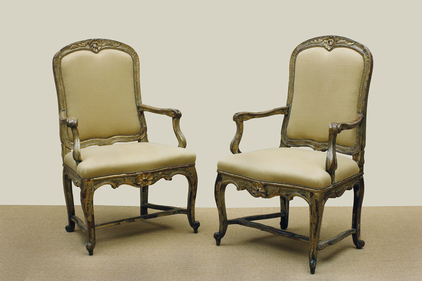 Italian Rococo Period Cream Painted & Gilt Armchairs