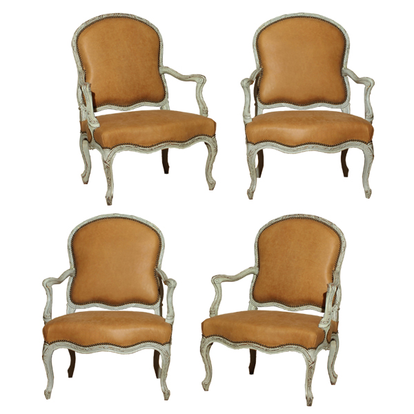 Set of Four Louis XV Period Painted Armchairs
