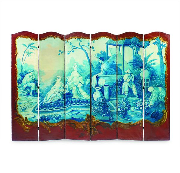 A Louis XV Style Chinoiserie Painted Six-Fold Screen