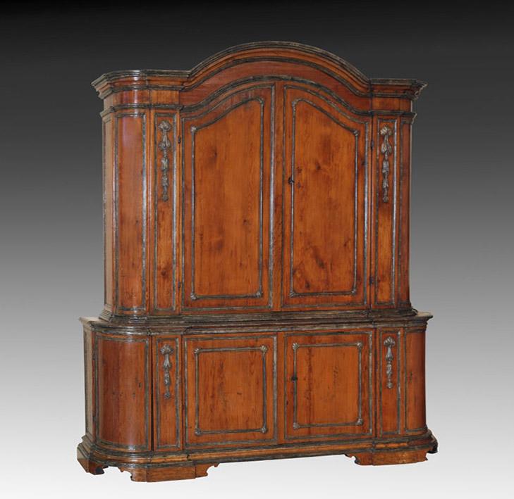 Italian Baroque Parcel Gilt Pine Side Cupboard