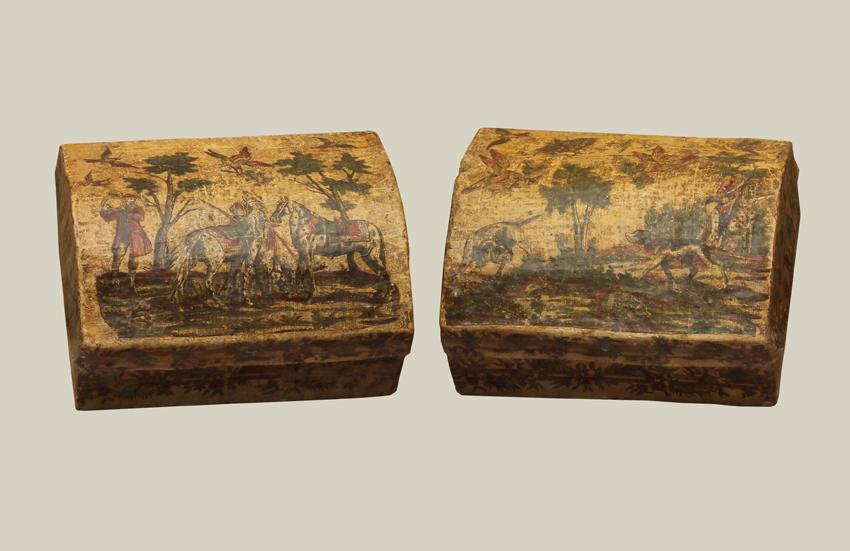 Rare Venetian Rococo Period Arte Povera Boxes