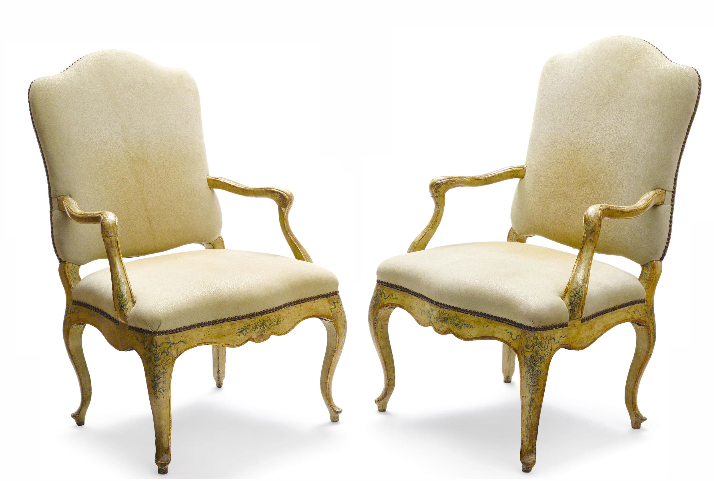 Large and Fine Italian Rococo Parcel Gilt and Painted Armchairs…<s>$18,000</s> / <b>$8,000</b>