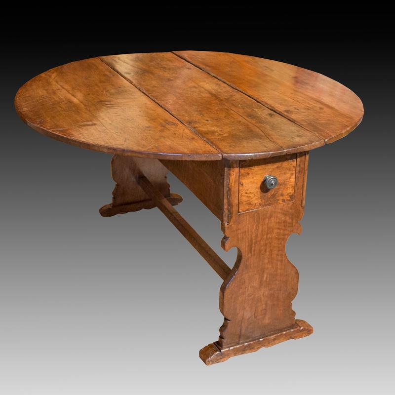 Italian Baroque Walnut Drop Leaf Dining Table