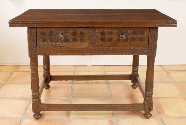 Spanish Chip Carved Chestnut Table