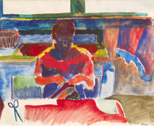 -SOLD- Bruce McGaw, 1959, 14″ x 16.5″