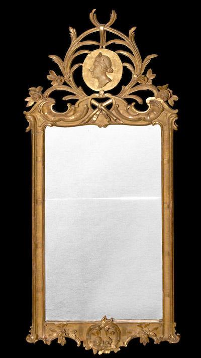 Swedish Neoclassic Giltwood Mirror